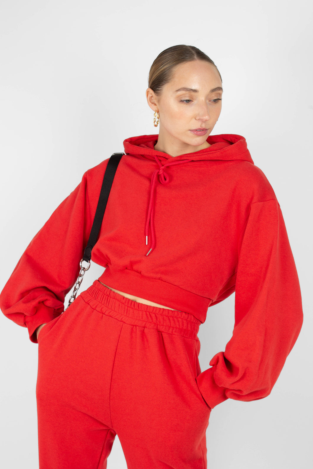 Red cropped hooded sweatshirt - set1sx