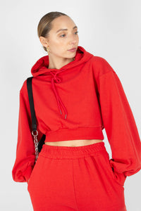 Red cropped hooded sweatshirt - set2
