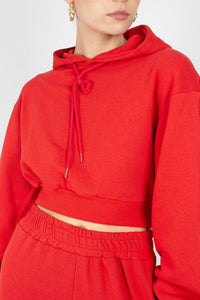 Red cropped hooded sweatshirt - set4