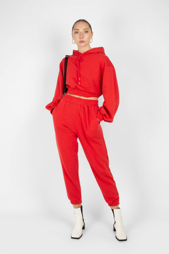 Red loose fit sweatpants - set1sx