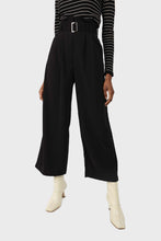 Load image into Gallery viewer, Black high waisted belted trousers sx