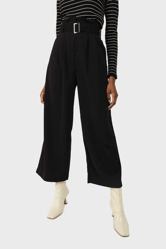 Black high waisted belted trousers sx
