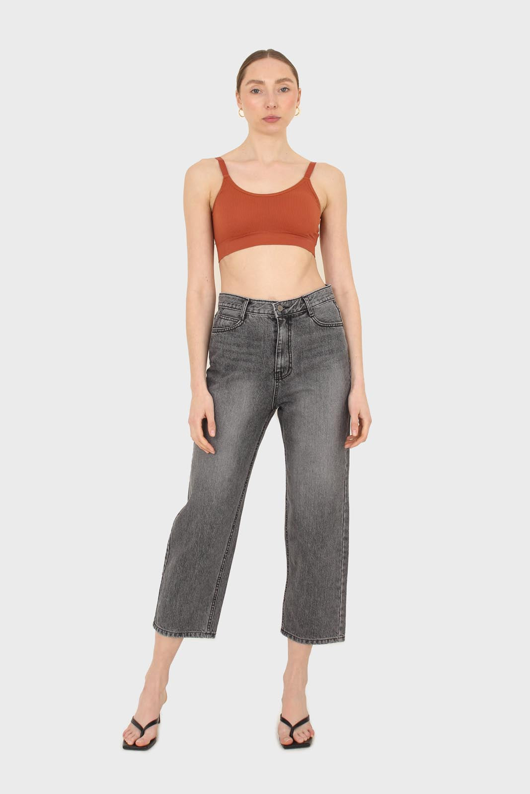 Grey washed mom jeans - 13351