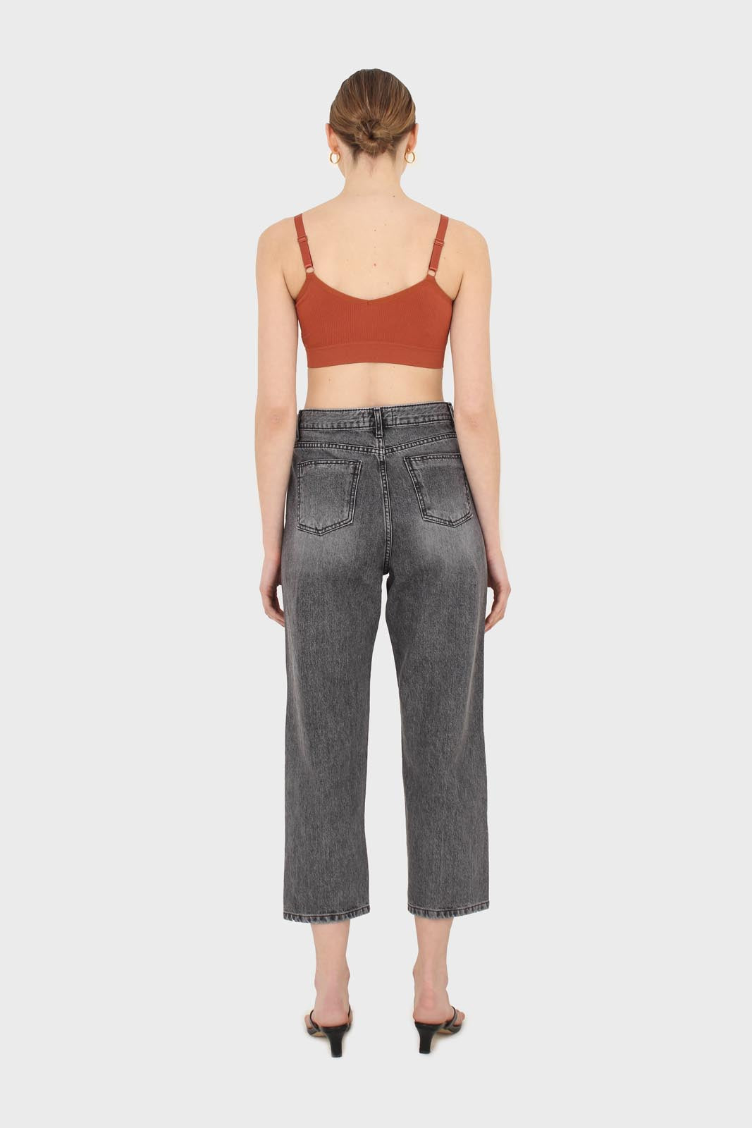 Grey washed mom jeans - 13352