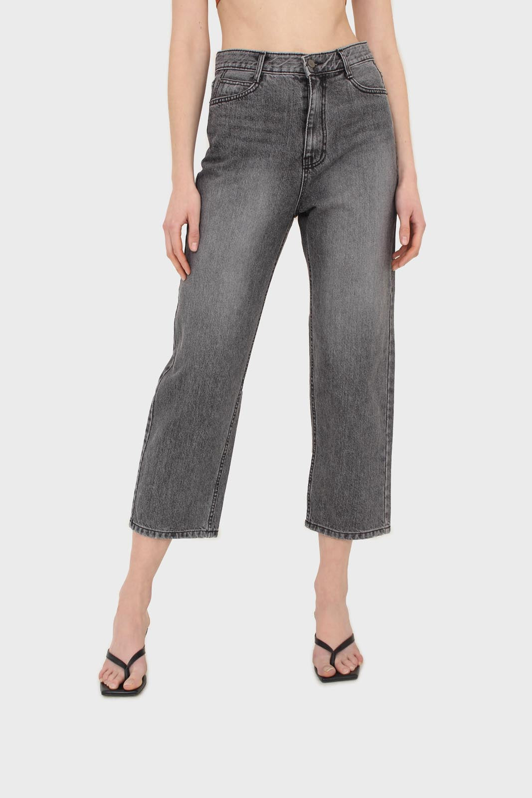 Grey washed mom jeans - 13353