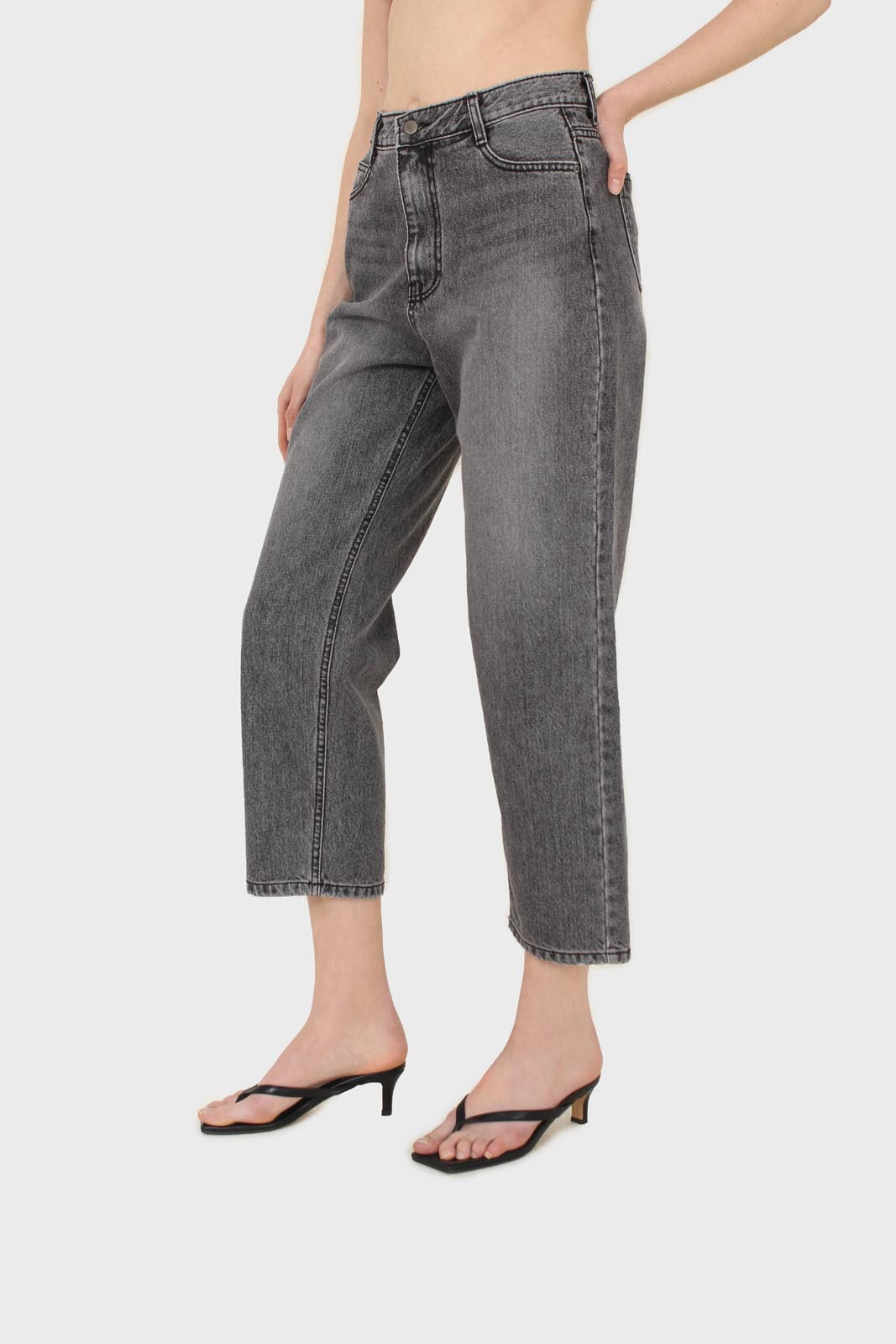 Grey washed mom jeans - 13354