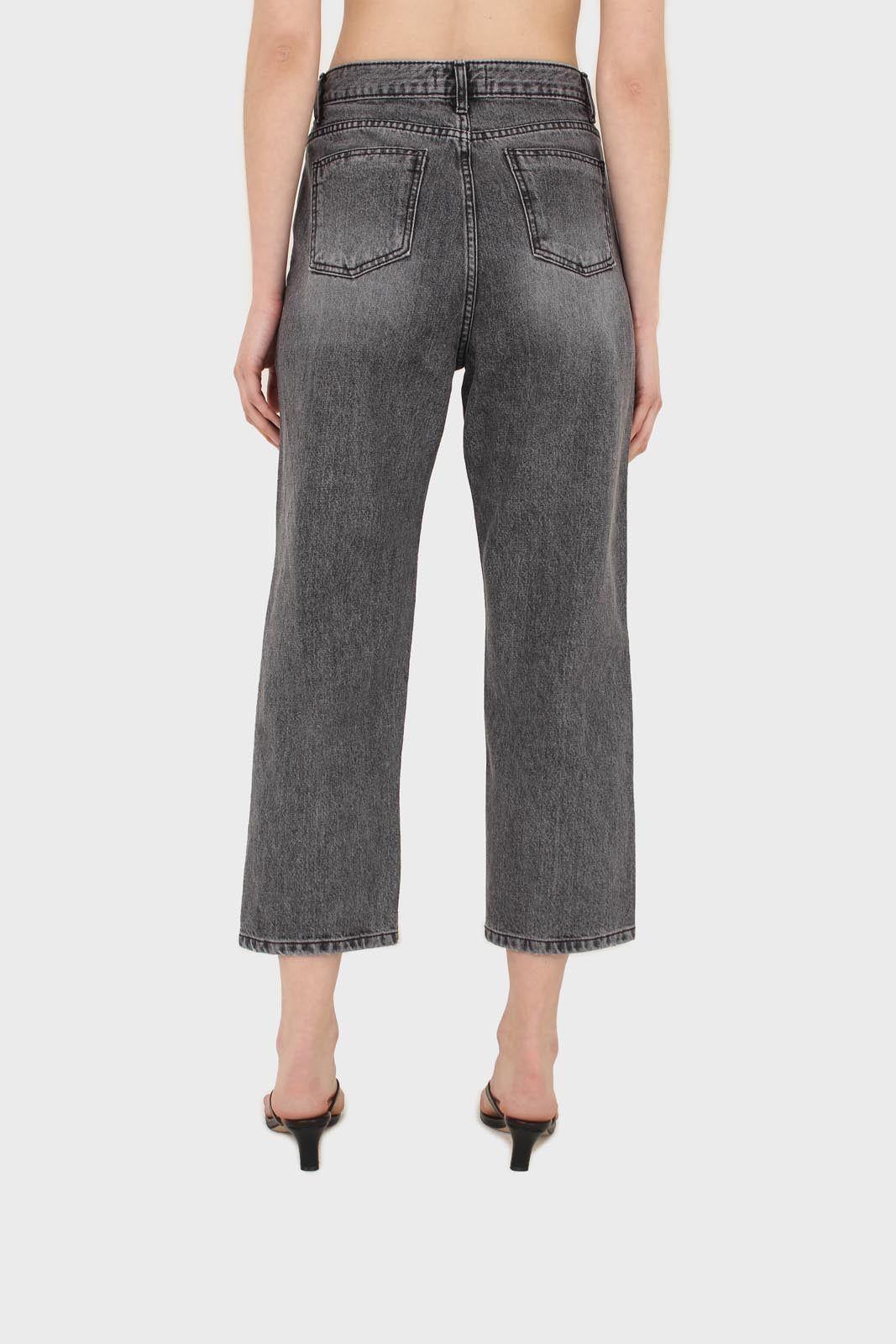 Grey washed mom jeans - 13355