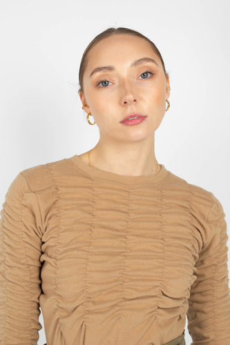 Beige half shirring long sleeved top1sx