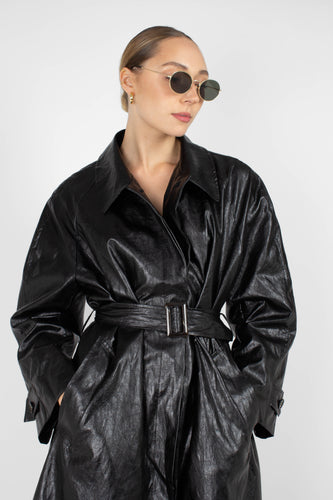 Black glossy faux leather long coat8