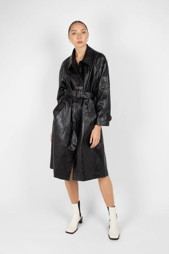 Black glossy faux leather long coat1sx