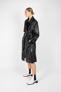 Black glossy faux leather long coat9