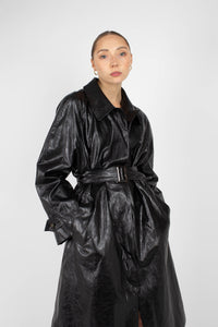 Black glossy faux leather long coat2