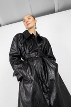Load image into Gallery viewer, Black glossy faux leather long coat3