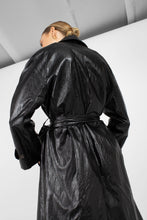 Load image into Gallery viewer, Black glossy faux leather long coat4