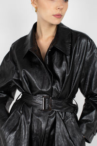 Black glossy faux leather long coat5