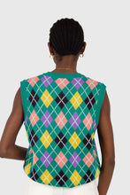Load image into Gallery viewer, Green multi colored argyle sweater vest5