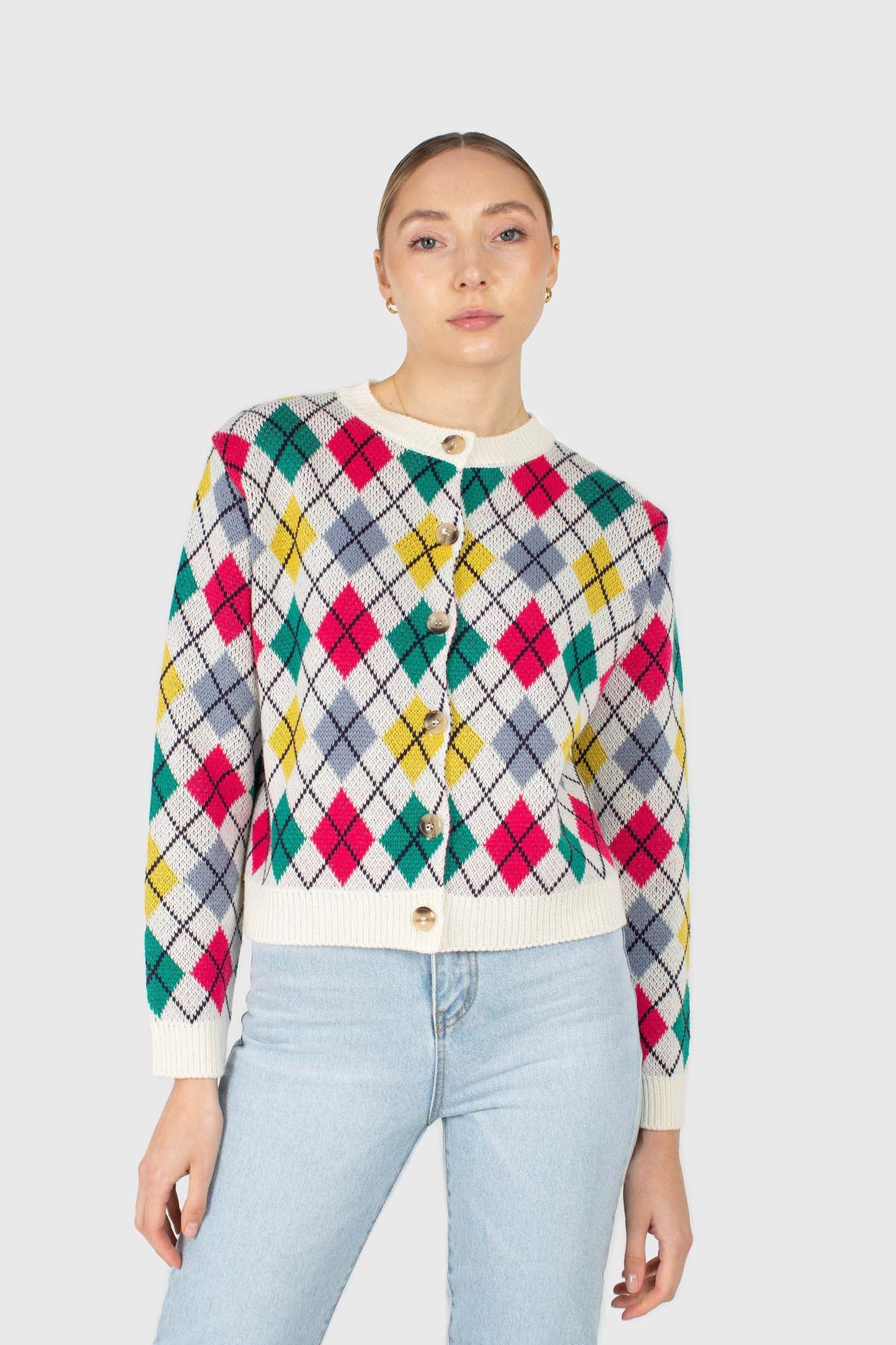 Ivory multi colored argyle cardigan1