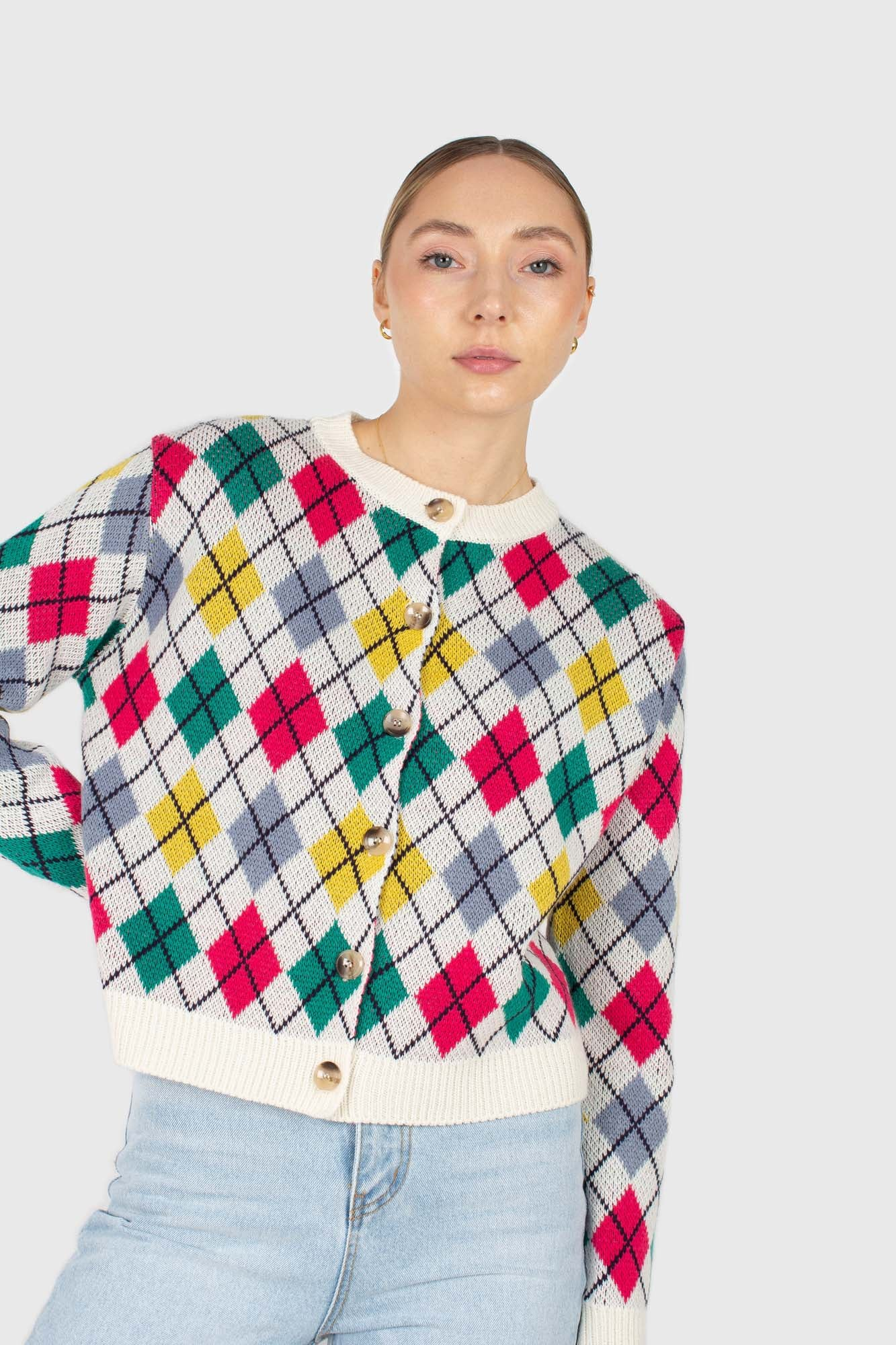 Ivory multi colored argyle cardigan2