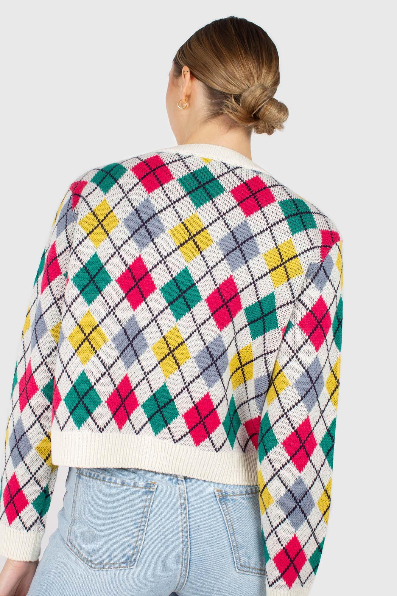 Ivory multi colored argyle cardigan3