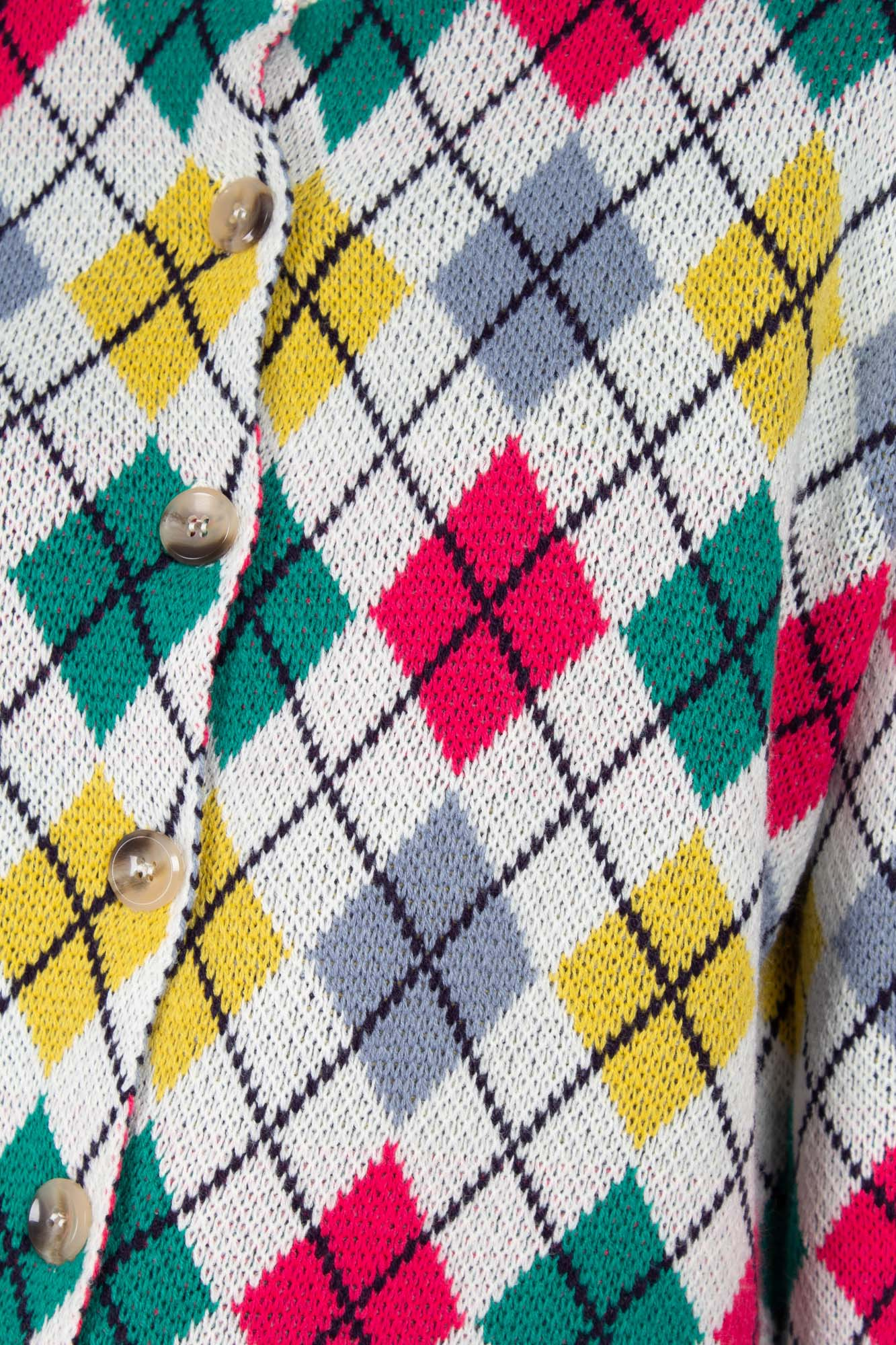Ivory multi colored argyle cardigan5