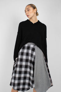 Black multi checked buckle waist midi skirt1sx