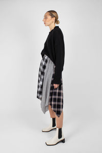 Black multi checked buckle waist midi skirt4