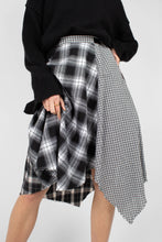 Load image into Gallery viewer, Black multi checked buckle waist midi skirt7