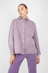 Lilac patch pocket oversized washed cotton shirt4
