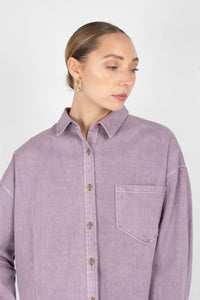 Lilac patch pocket oversized washed cotton shirt1sx