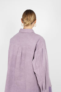 Lilac patch pocket oversized washed cotton shirt2