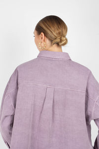 Lilac patch pocket oversized washed cotton shirt3