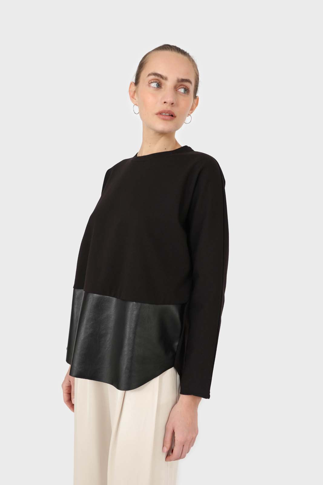 Black vegan leather contrast hem top4