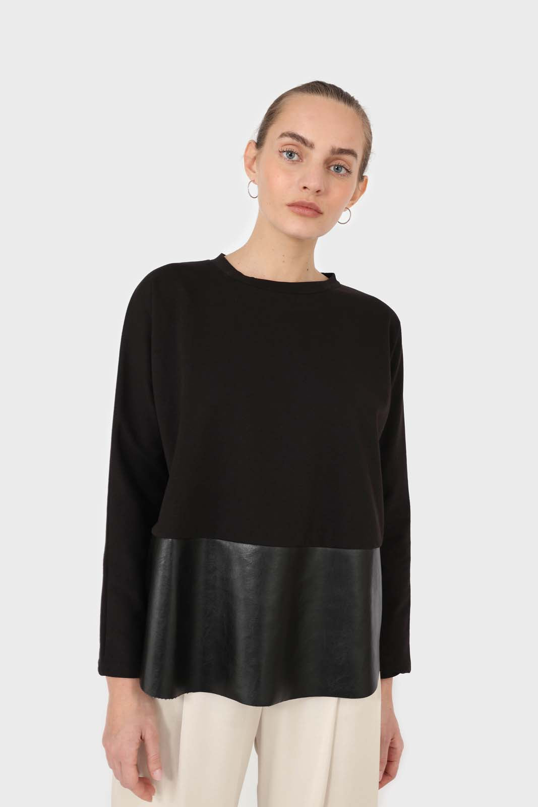 Black vegan leather contrast hem top5