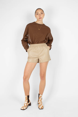 Brown vegan leather contrast panel sweatshirt1sx