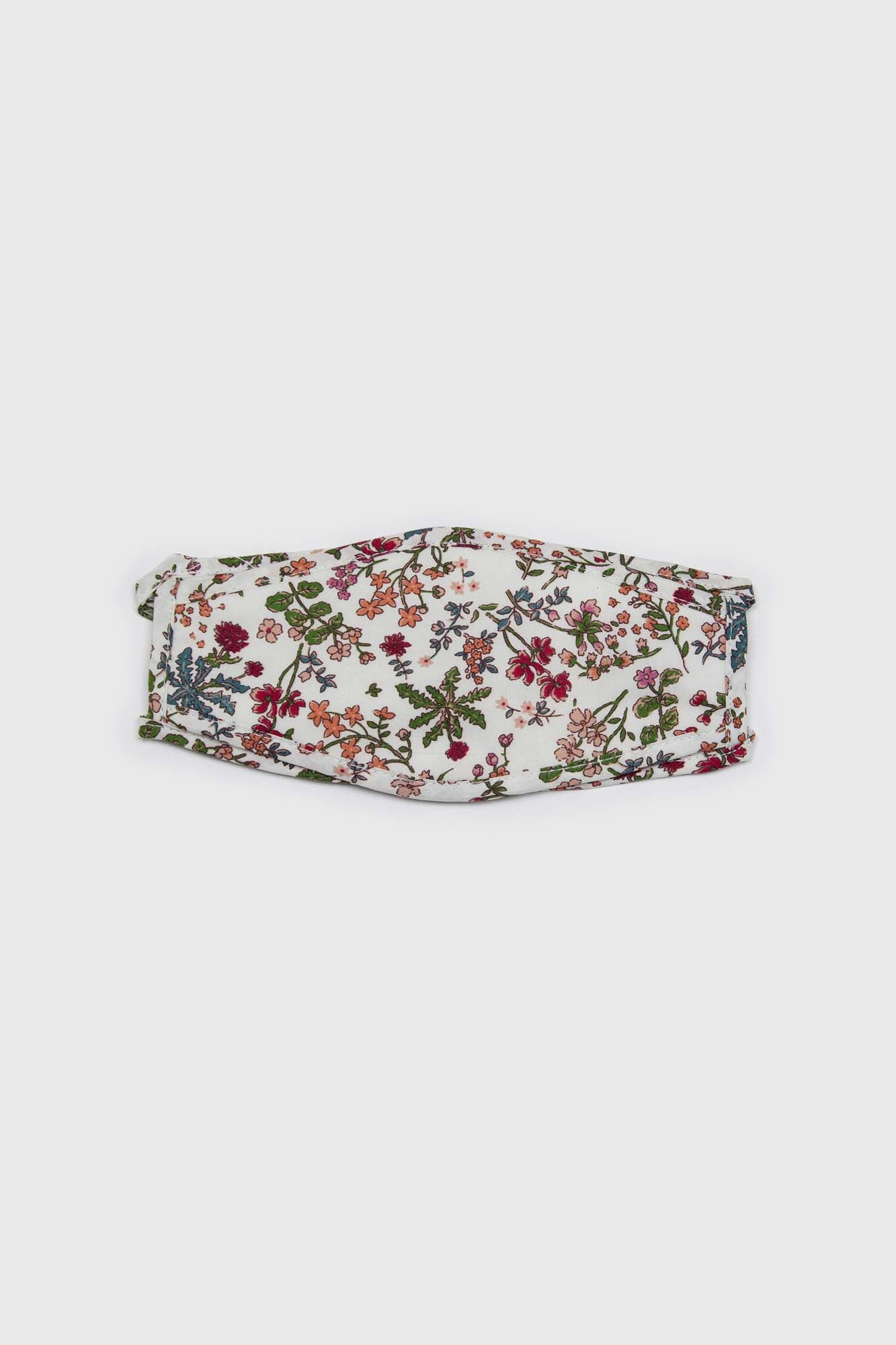White and red multi floral pure cotton face mask2