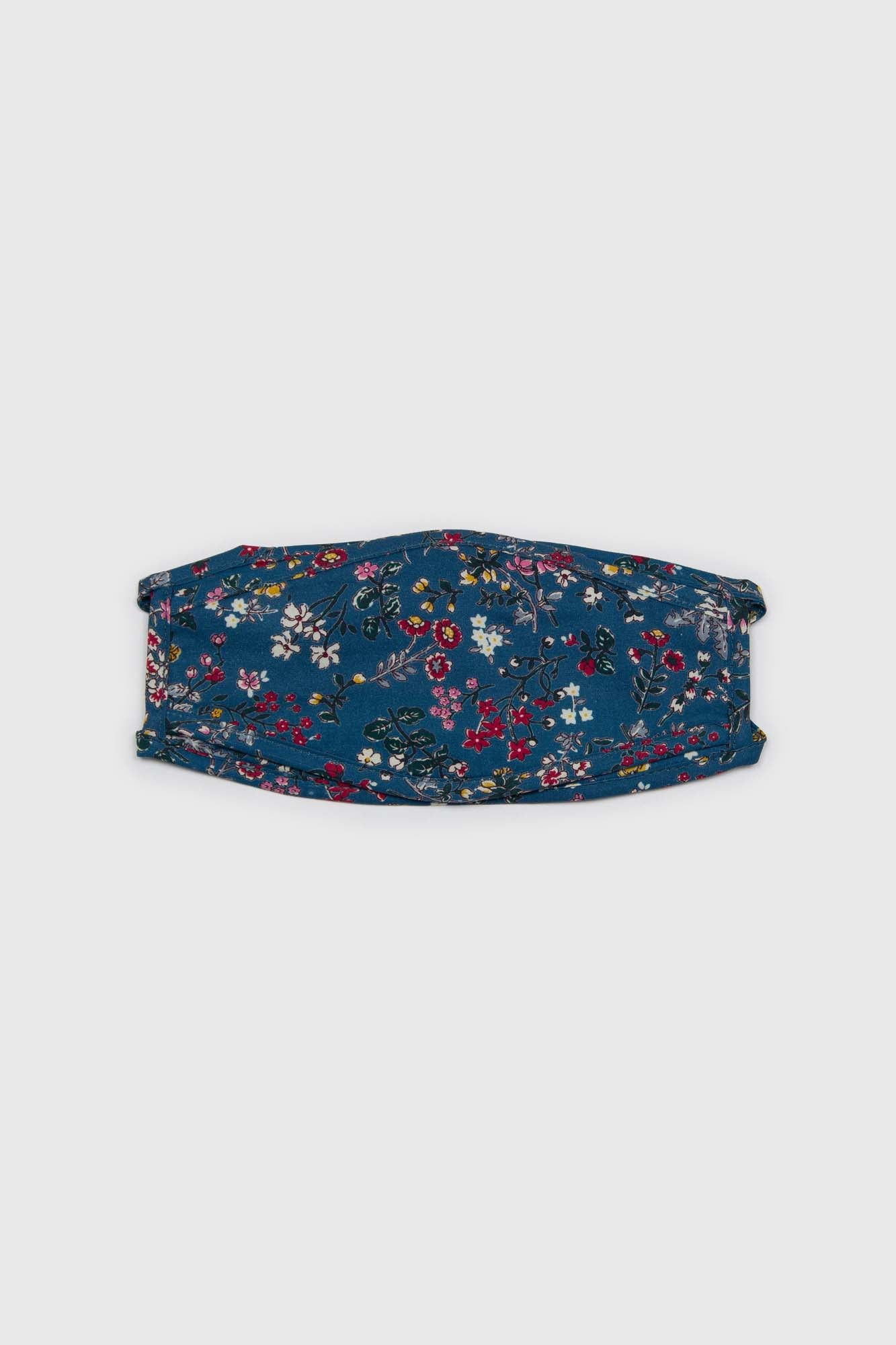 Blue and yellow multi floral pure cotton face mask2