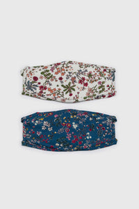 White and red multi floral pure cotton face mask3