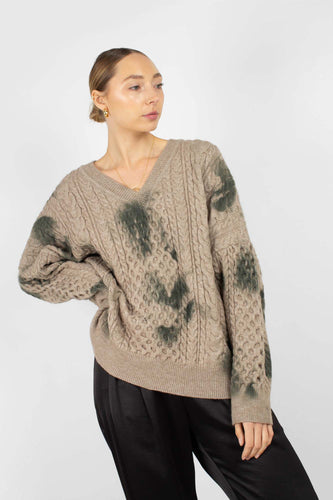 Beige and khaki tie dye V neck jumper1sx