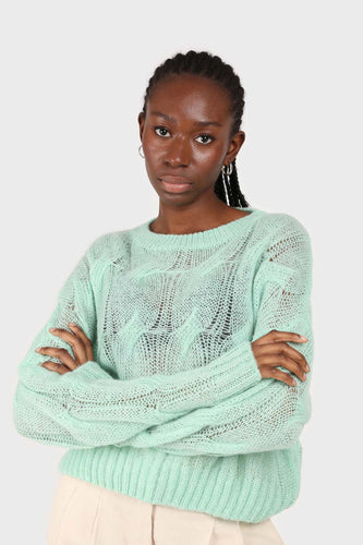 Mint loose cable knit crew neck jumper1sx