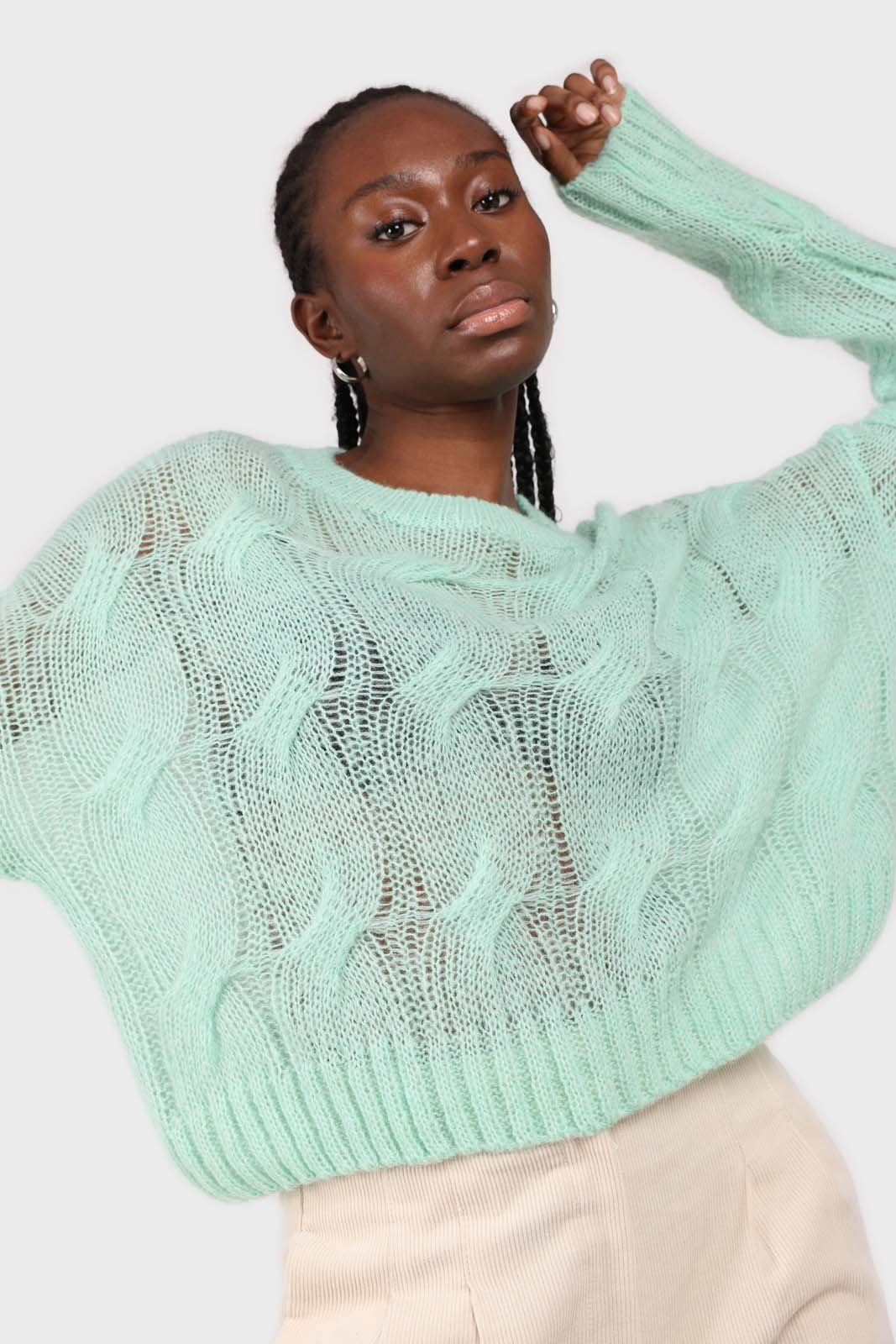 Mint loose cable knit crew neck jumper2