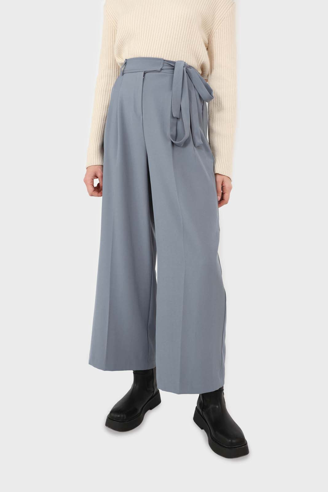 Blue soft belted loose fit trousers1sx