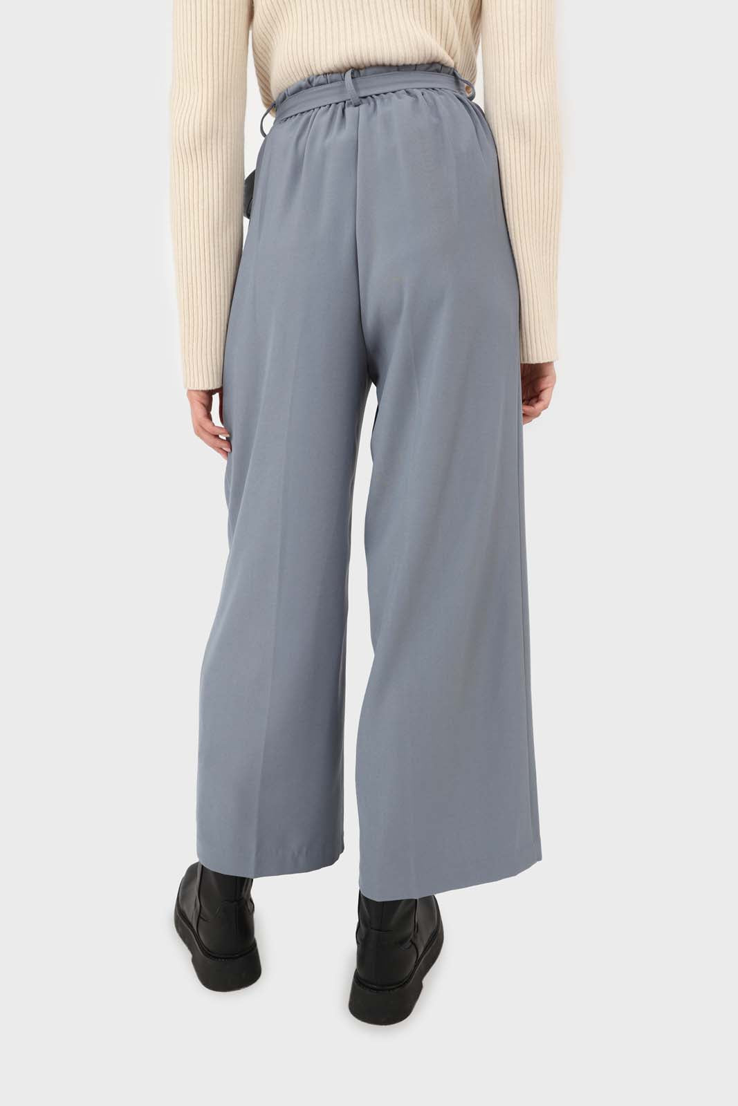 Blue soft belted loose fit trousers2