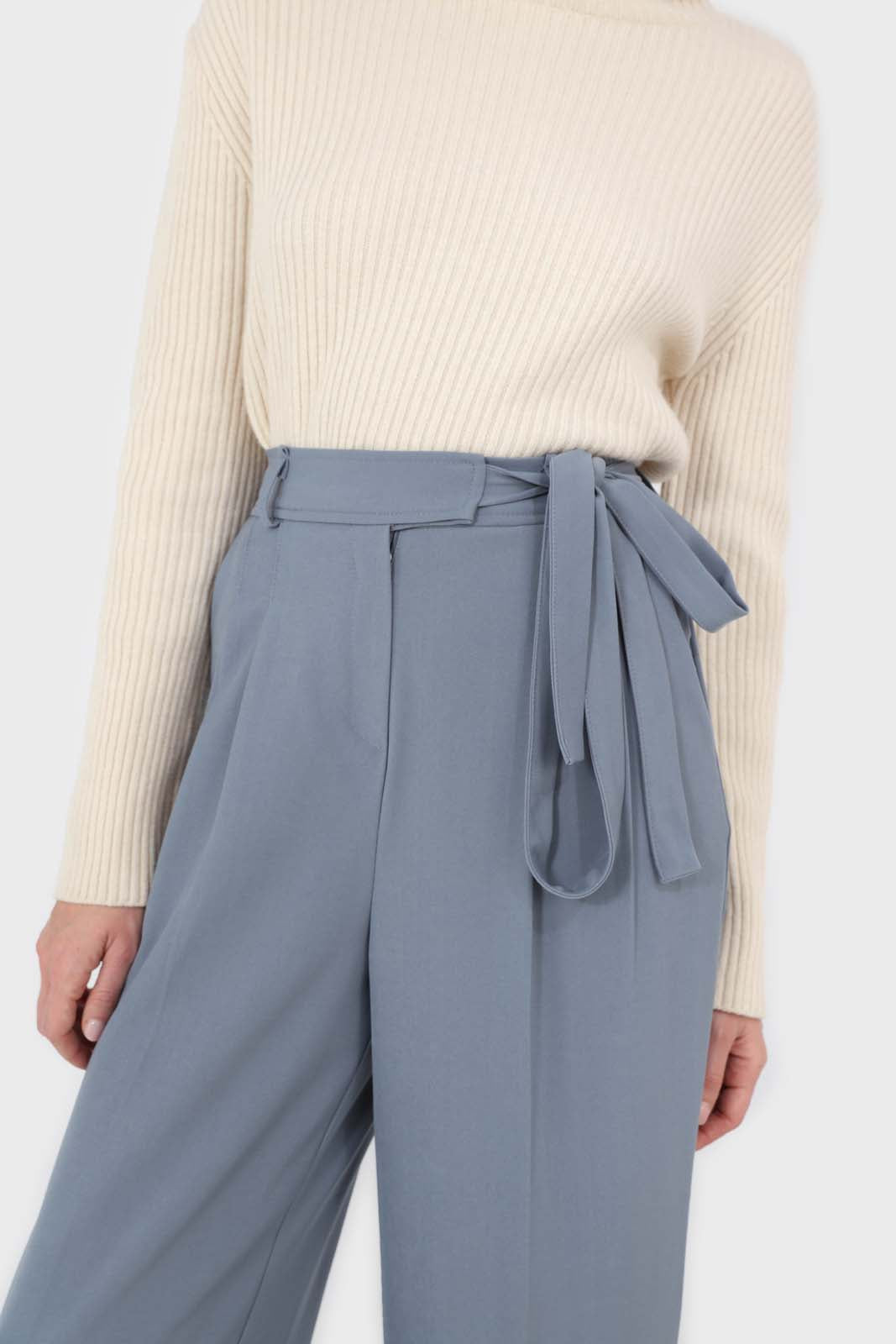 Blue soft belted loose fit trousers6