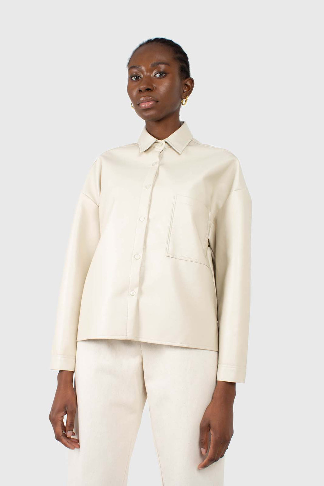 Cream vegan leather oversized shirt jacket1