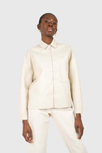 Load image into Gallery viewer, Cream vegan leather oversized shirt jacket3