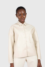 Load image into Gallery viewer, Cream vegan leather oversized shirt jacket5