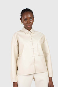 Cream vegan leather oversized shirt jacket5