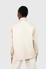 Load image into Gallery viewer, Cream vegan leather oversized shirt jacket6
