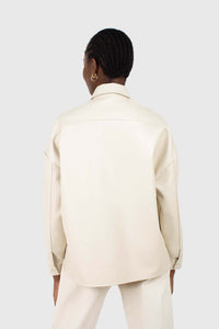 Cream vegan leather oversized shirt jacket6