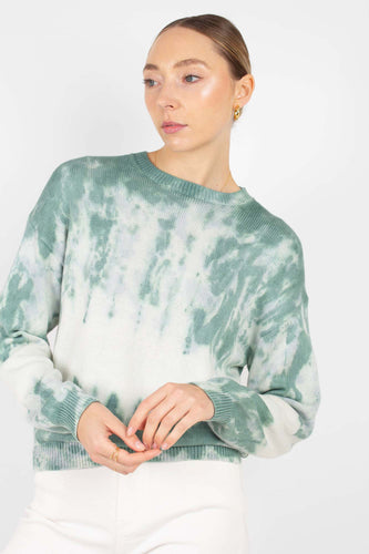 Green tie dye knit crew neck jumper1